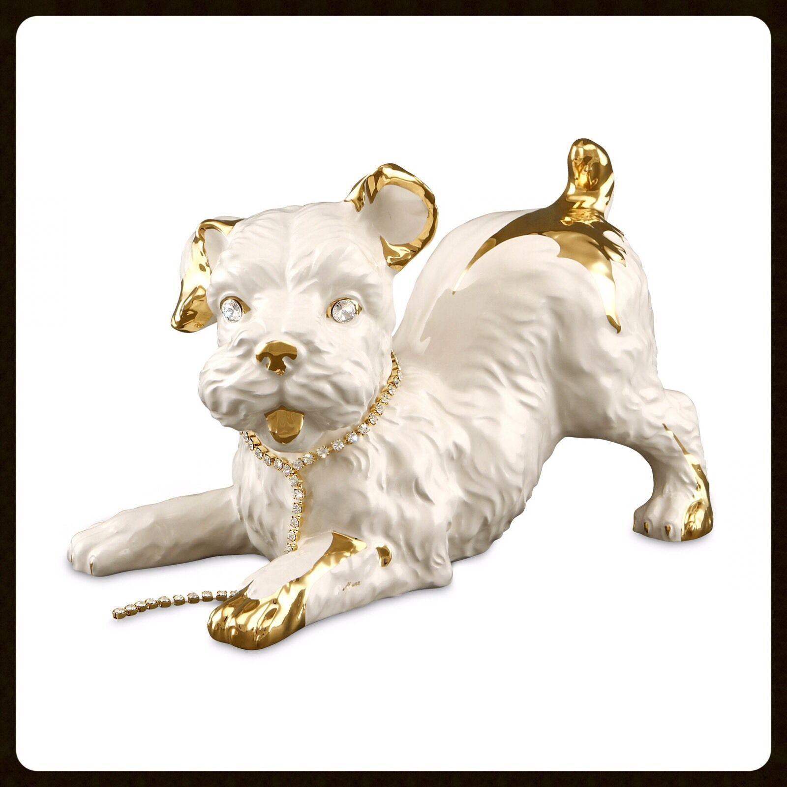 Keramik Terrier Hundefigur Dog Swarovski  24K Gold Handarbeit aus Italien