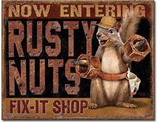 RUSTY NUTS Fix-It Shop Metal Tin Sign Garage Shop Home Wall Decor New