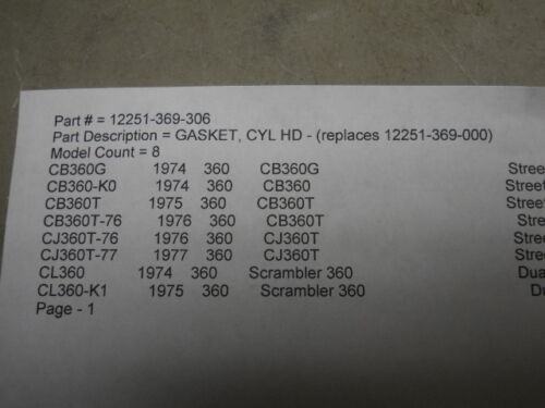IBCO H5 Honda NOS CB360 # 12251-369-306 # 68-H CJ360 Cylinder Head Gasket