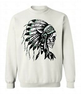 Native American Headdress Skull Mens Sweatshirts Pullover Crew Neck Sweatshirt