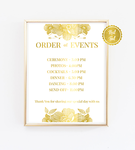 Order Of Events Wedding.Details About Personalised Order Of Events Wedding Sign Gold Foil Wedding Timeline Schedule