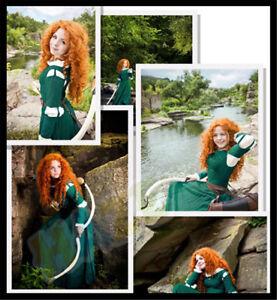Brave Legend Princess Merida Cosplay Costume Women Dress Halloween Party Props