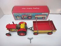 Vintage Schylling Collector Series Tin Wind-Up Action Tractor & Trailer  in Box