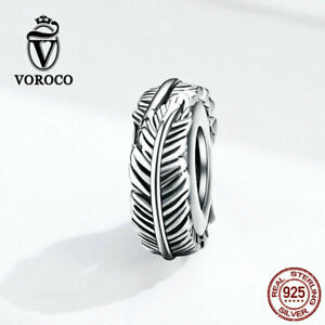 925 Sterling Silver Feather Charm Bead for Bracelet Pendant