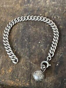 Ancien Bracelet Gourmette En Argent Massif Silver Fleurie Art Nouveau