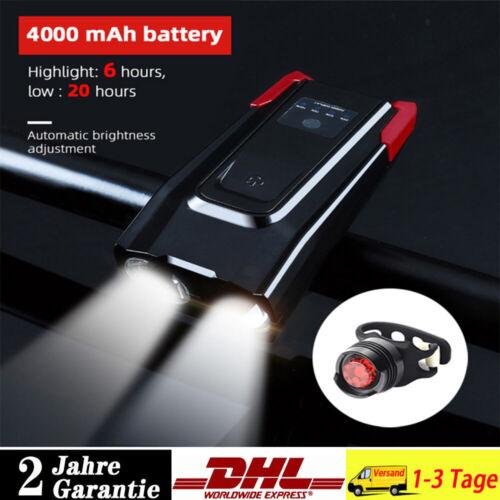 LED Fahrrad Lampe mit Horn Scheinwerfer Power Bank 4000mah Frontlicht Rücklicht