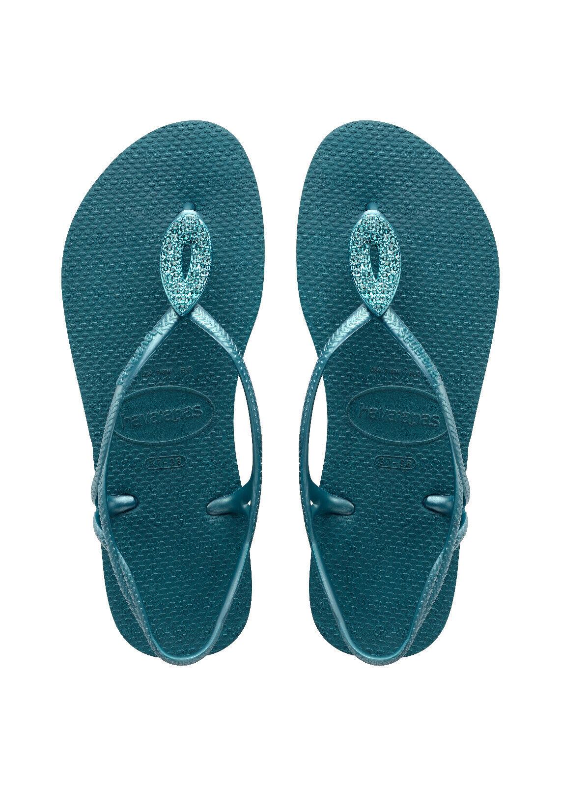 HAVAIANAS Zehentrenner Badeschuhe Thong Sandale LUNA SPECIAL petroleum blau NEU