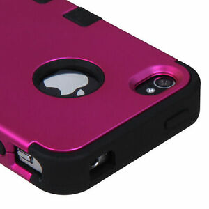 For-iPhone-4-4S-Rubber-IMPACT-TUFF-HYBRID-Case-Skin-Phone-Cover-Rose-Pink-Black