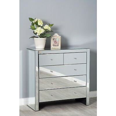 Mirrored Glass 3+2 Chest of Drawers Cabinet Storage Modern Bedroom Furniture