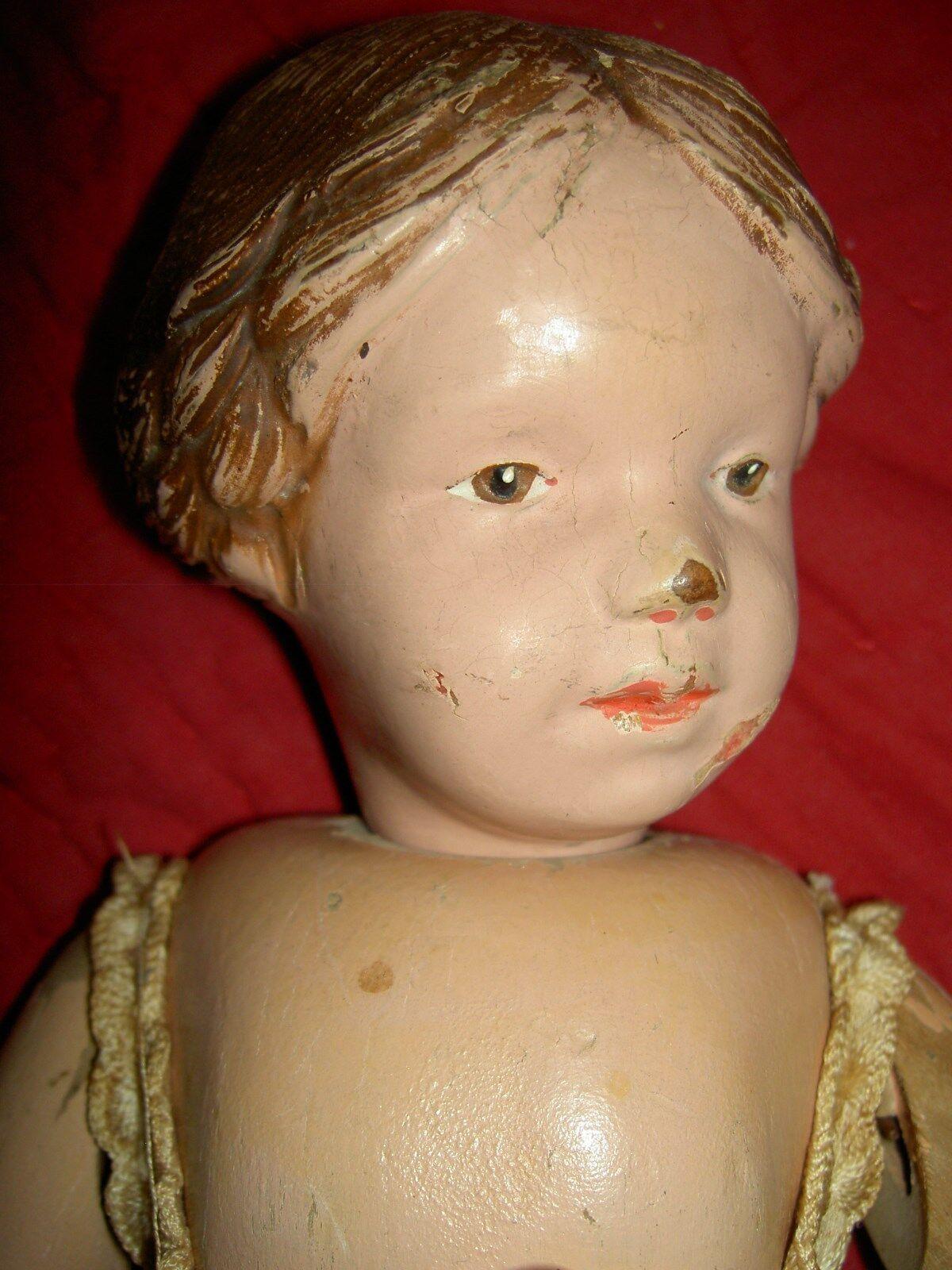 Raro, Schoenhut Articulado Madera Tallado trenzado de pelo de muñeca con arco rosadodo Modelo  102