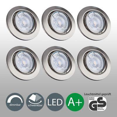 6x LED Einbaustrahler GU10 dimmbar Einbau-Spots flach Decken-Leuchte Einbaulampe