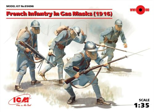 1918 4 Figures 1:35 Plastic Model Kit ICM French Infantry In Gas Masks
