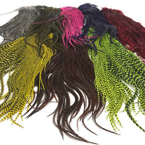 HALF-GRIZZLY-ROOSTER-SADDLE-Hareline-Fly-Tying-Hackle-Feathers-Hair-Extensions