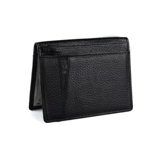Fashion Men Slim Thin Genuine Leather Bifold Id Wallet Money Credit Card Holder