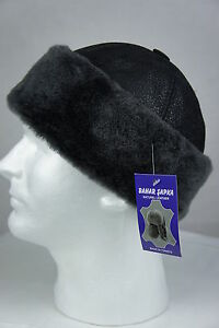 4111a0b7 Image is loading Black-100-Sheepskin-Shearling-Leather-Fur-Beanie-Round-