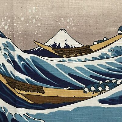Japanese Furoshiki Wrapping Cloth Hokusai Ukiyoe Great Wave Mt Fuji Kyoto