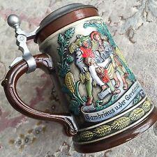 Vintage Collectable 1960s Original Old West German Lidded Gerzit Beer Stein