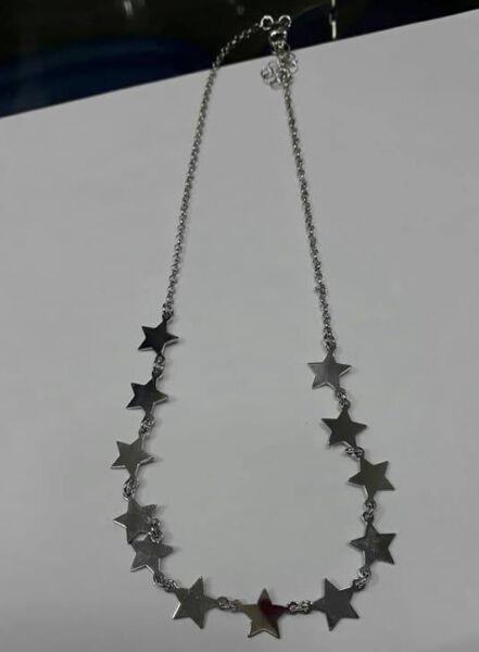 1 Collana Argento 925 Con 12 Stelle Stelline 44 Cm Girocol Silver Necklace Star