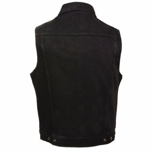 DM1331 Milwaukee Leather Men/'s Snap Front Motorcycle Denim Vest W// Shirt Collar
