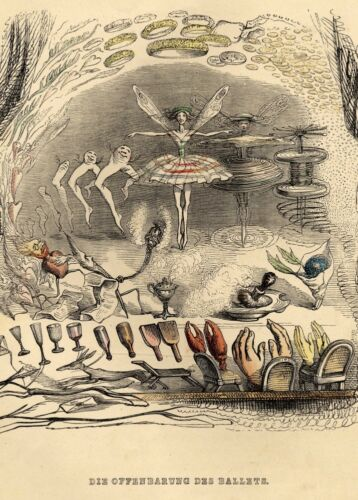 surrealism poster A Different World by J.J Grandville Opening of the Ballet