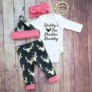 a53857bb2a99 3PCS Newborn Baby Boy Girls Kids Romper Tops+Long Pants+Hat Outfits ...