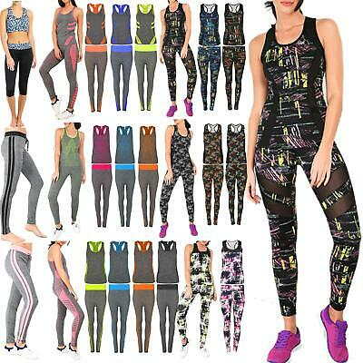 Women Vest Gym Workout Sports Running Multi Colour Print Trouser Active Wear Set Modische Und Attraktive Pakete