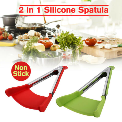 12 inch Spatula Tongs 2 in 1 Kitchen Food Non Stick Anti-heat Cook Clip Tool