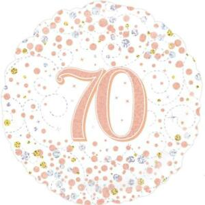 18 inch Rose Gold Sparkling Fizz 70th Birthday Foil Balloon 45 cm Party Decor