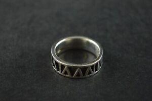 100% De Qualité Vintage Sterling Silver Band Ring W Chiffre Romain Design - 7 G-afficher Le Titre D'origine Toujours Acheter Bien
