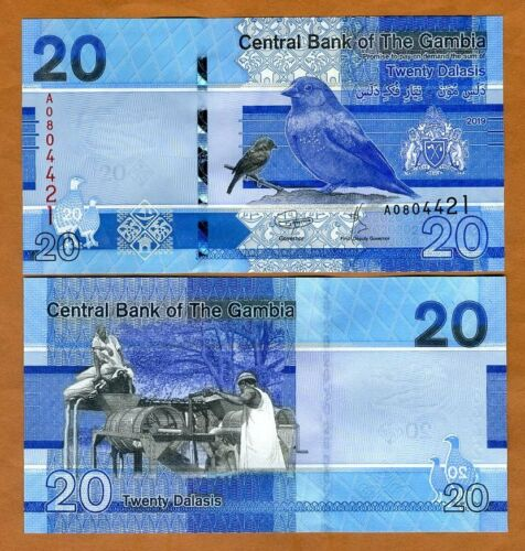 UNC /> Bird 20 Dalasis 2019 P-New A-Prefix Gambia redesigned ND