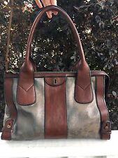 FOSSIL Handbag Brown & Pewter Vintage Re-Issue Tote Shoulder Bag Shopper Large