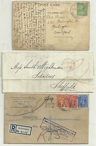 1848-1946-3-YORKSHIRE-MAILS-TO-FROM-SHEFFIELD-amp-ROTHERHAM-HARWORTH-RUBBER-amp-REGd