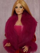 "Allfordoll Pink FUR wool COAT for 16"" Tonner Tyler Ellowyne Gene BJD Ficon Dolls"