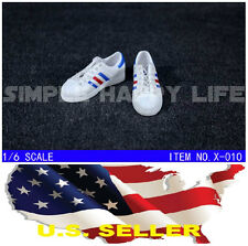 "1/6 shoes Adidas style white blue color men sneaker for 12"" figure hot toy USA"