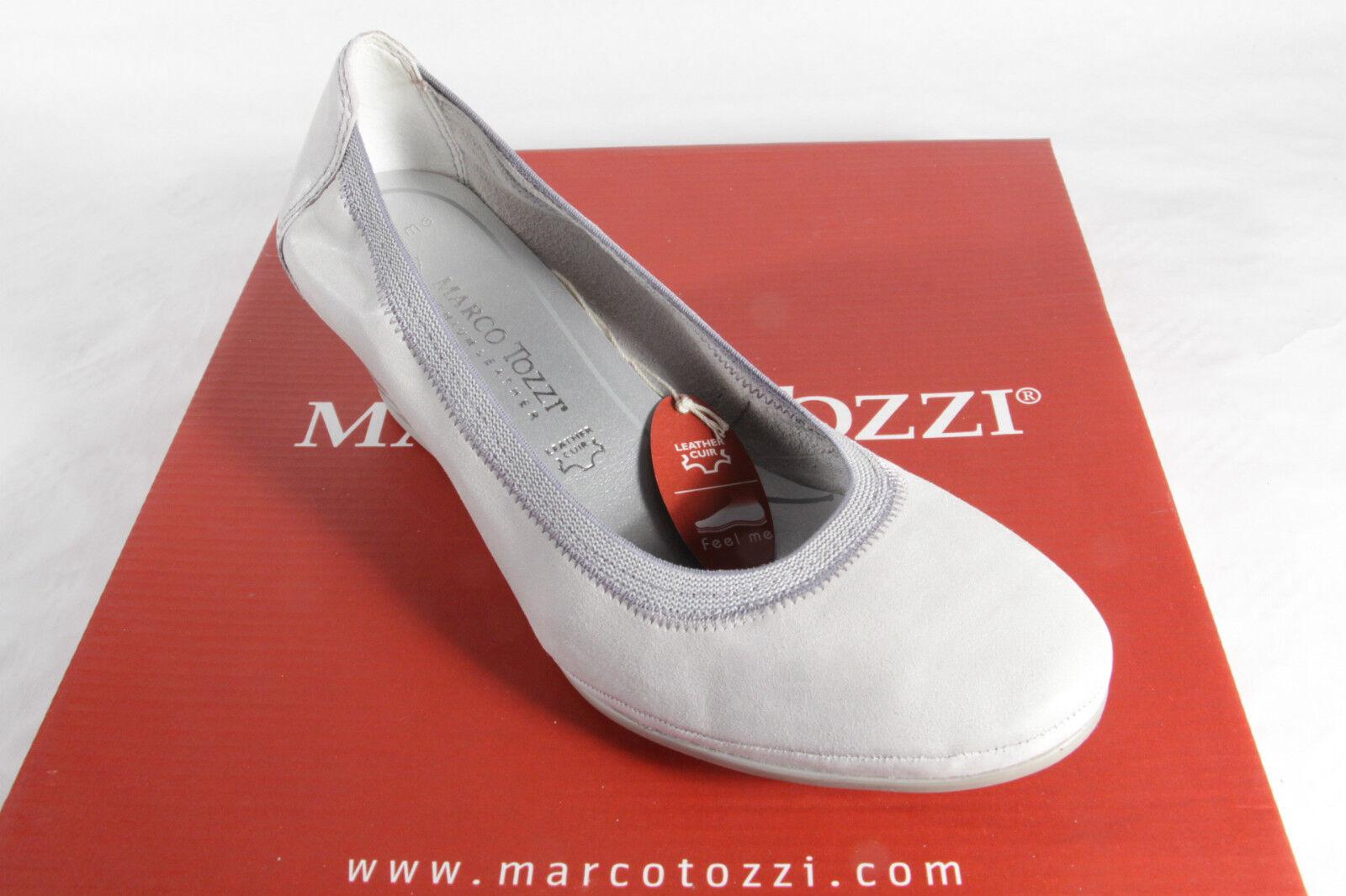 Marco Tozzi Slipper Pumps Ballerina Slipper Tozzi hellgrau weiche Innensohle Echtleder NEU! 6f3cef