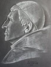 Schmirler Kreidezeichnung Porträt eines Bischofs 1931 Studienarbeit Loket xz