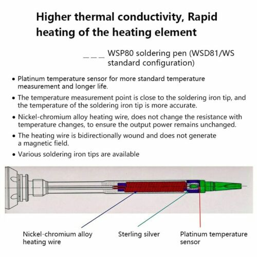 Soldering Iron Pencil Heater Barrel For Weller WP80 WSP80 WSD81 WD1 Station