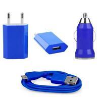 3in1 Micro USB Ladekabel KFZ USB Auto Samsung GALAXY ACE 3 S7275 Ladegerät blau