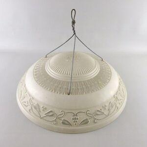 VTG-Ceiling-Glass-Lamp-Shade-Dome-Antique-3-Hole-Flowers-Art-Deco-Nouveau-15-5-034