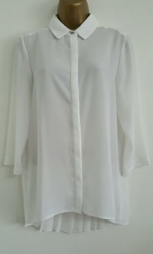 NEW Ex Wall*s White Crepe Chiffon Pleated Back Tunic Top Blouse Shirt Smart6-22
