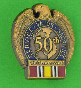 Vietnam-War-Era-Veteran-50th-Anniversary-Commemorative-Lapel-Hat-Pin-NDSM-P141