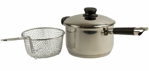 Acier Inoxydable Induction Deep Pot Chip Pan Friteuse avec panier et couvercle poêle