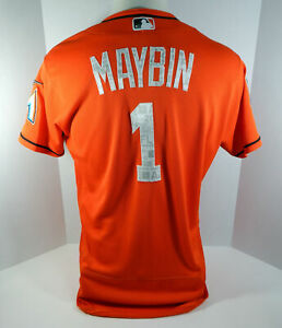 best authentic 7c6a8 05cc0 Details about 2018 Miami Marlins Cameron Maybin #1 Game Used Orange Spring  Training Jersey