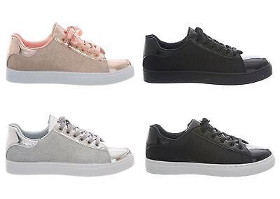 Hell Womens Ladies Shiny Glitter Comfort Lace Up Trainers Shoes Seien Sie In Geldangelegenheiten Schlau
