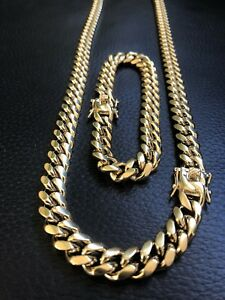 10mm-Mens-Miami-Cuban-Link-Bracelet-amp-Chain-Set-14k-Gold-Plated-Stainless-Steel