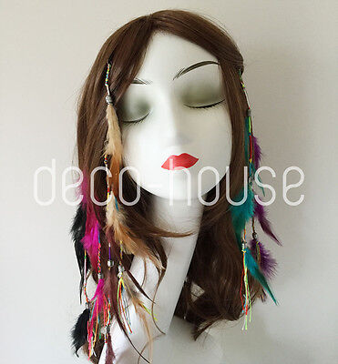 Native American Red Indian Feather Hair Comb Clip Extension Costume Halloween