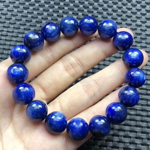 Natural Blue Kyanite Cat Eye Crystal Reiki Round Beads Woman Bracelet 12mm AAAA