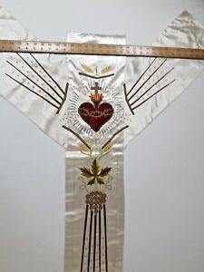 Antiguedad-Frances-Sacred-Heart-Of-Jesus-Vestment-Casulla-Bordado-Panel-588ms