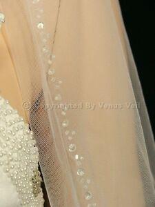 1T-Ivory-Wedding-Bridal-Fingertip-Length-Beaded-Edge-Veil