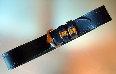 Cintura Vintage In Cuoio Blu Con Orologi Decorativi E Fibbia In Ottone